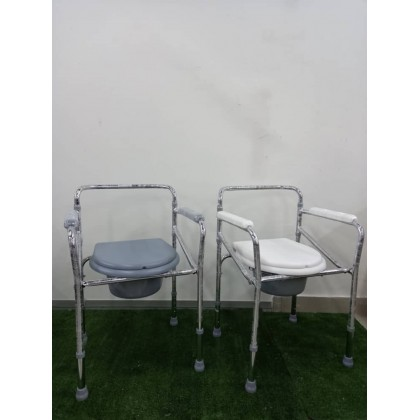 Commode Chair without Castor (White / Grey)