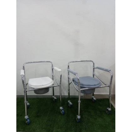 Commode Chair with Castors (White / Grey)